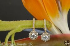 2.00ct Diamond Round Hanging Drop Lever Back Earrings 14ct Rose Gold