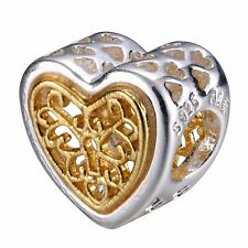 European Silver Charms Openwork Heart Bead Fit Sterling 925 Bracelets Bangle