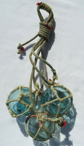 """Japanese Wood Fishing Float (3) Glass 2"""" Netted Hanging Maritime Paint"""