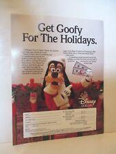 DISNEY ORIGINAL ORDERING AD SHEET GOOFY DISNEY DOLLARS 1988 CHRISTMAS HOLIDAYS