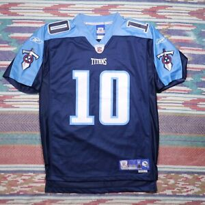 Reebok Tennessee Titans Vince Young Jersey Adult Medium Blue Stitched NFL Mens