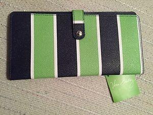 Vera Bradley Slim Travel Organizer Snap Tab Wallet Clutch Lucky Stripe  - NWT
