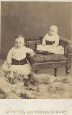CABINET CARD PORTRAIT OF TWO ADORABLE BABIES ON FUR RUG - TORONTO, CANADA