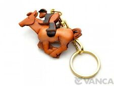 Horse Rider Handmade 3D Leather(L) Keychain Charm *VANCA* Made in Japan #56129
