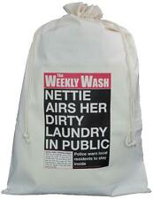 PERSONALISED - WEEKLY WASH NEWSPAPER - NATURAL COTTON LAUNDRY / STORAGE BAG
