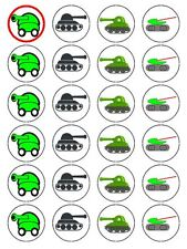 CARTOON ARMY TANK CUP CAKE TOPPERS DECORATIONS ON EDIBLE RICE PAPER