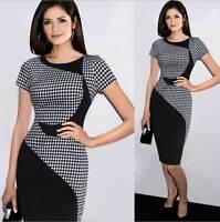 Women Bodycon Stretch Plaid Patchwork Dress Midi Business Office Pencil 8-18 16