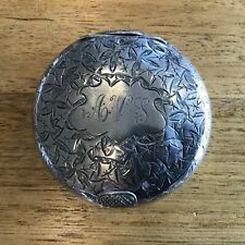 Antique Sterling Silver Snuff Box. Made by Smith & Bartlam 1904c Chester. #327