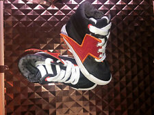 SZ 8 Cat and Jack TODDLER BOYS LACE and ZIP UP LIGHTNING BOLT HIGH TOPs