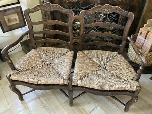 Used country French rush seat bench / loveseat