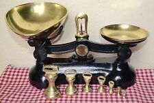 VINTAGE ENGLISH BLACK BOOTS CASH CHEMISTS KITCHEN SCALES 7 BRASS BELL WEIGHTS  2