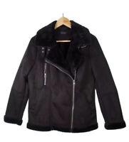 Topshop Womens Moto Jacket Black Asymmetric Zip Faux Fur Lined Collared Pocket 6