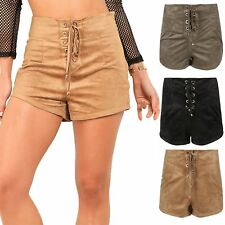 Womens Ladies Casual Shoe Lace Eyelet Detail High Waisted Hot Pants Suede Shorts