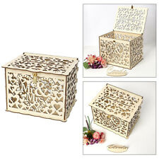 Hollow Wooden Wedding Greeting Card Box Wishing Well Gift Collection Organizer