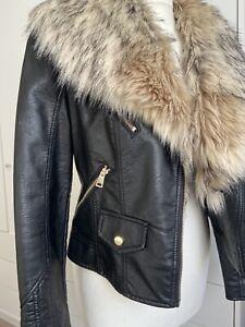 River Island Black Faux Leather Biker Jacket Size 10