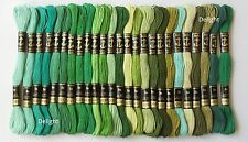 25 Anchor Cross Stitch Embroidery Cotton Thread Floss/ skeins in Green Colors