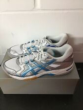 Asics Gel Rocket 6 Trainers Women's UK 8 White Silver Blue - Brand New In Box