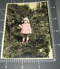 Little Girl w/ Hand Color TINTED PINK Dress Socks Flowers Child Vintage PHOTO
