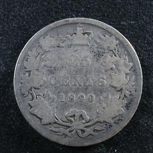 25 cents 1890H Canada Queen Victoria silver coin c ¢ quarter G-4