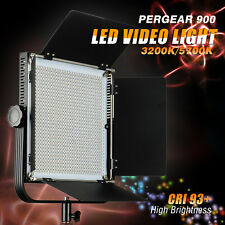 Pergear 900 LED 3200K/5700K Dimmable Panel Photography Video Light w/ Barn Door