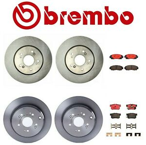 Front and Rear Brake Kit Disc Rotors and Pads Brembo For Acura RDX Honda CR-V