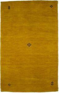 Modern Tribal Indo-Gabbeh 3X5 Contemporary Gold Oriental Rug Kids Room Carpet