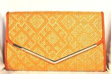 KELLY & KATIE Bag Straw Flap CLUTCH w/Chain Orange CROSSBODY nwot