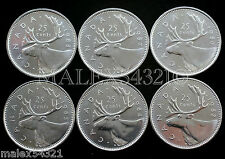 🇨🇦​CANADA 1982 TO 1988 CARIBOU 25 CENTS SET UNC (6 COINS) (NO 1983)