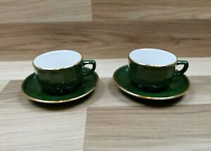 2 x Apilco France Green White and Gold Porcelain Coffee Cups And Saucers