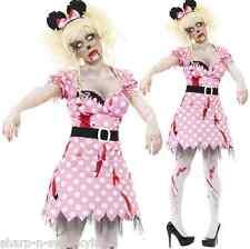 Ladies Zombie Minnie Mouse Cartoon Dead Corpse Halloween Fancy Dress Costume