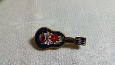 Bead Guitar C Clasp Brooch Pin Vintage Italy Goldtone Metal Micro Mosaic Glass