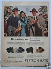 """Vintage Stetson Hats Magazine Ad 1947 Budweiser Beer Full Color 10.5"""" x 14"""""""