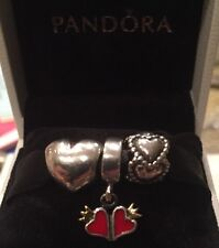 AUTHENTIC PANDORA CHARMS.PUFFY HEART, EVERLASTING LOVE,DOUBLE HEARTS W/ 14K GOLD