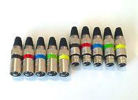 10 Stück 5x male 5x female XLR Stecker mit Farbringen für Mikrofon und DMX Kabel