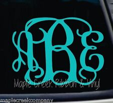 "Clinging Vine Monogram Decal - Teal - Choose your letters - 7"" wide"