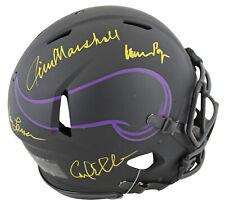 Vikings Purple People Eaters (4) Signed Eclipse F/S  Speed Proline Helmet BAS
