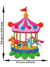 Carousel Horse Wheel Fun Park Children Cartoon Kids Applique Iron on Patch Sew