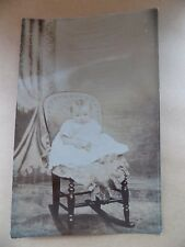 Real Photograph Vintage Old Postcard Unposted Small Child on Chair in Gown RP