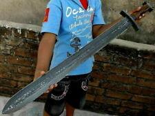 Blacksmith Custom Handmade New Damascus Steel Viking Sword, Wooden Handle