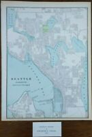 "Vintage 1901 SEATTLE WASHINGTON Map 11""x14"" ~ Old Antique Original GEORGETOWN"