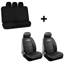 2 Jeep Black Synthetic Leather Sideless Seat Covers & Free Universal Bench Car