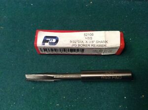 """F&D Tool Company 52106 Jig Borer Reamers Right Hand Cut, Straight Shank, 9/32"""""""