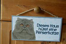 Türschild Tierschild Schild Tafel Holzschild Deko Bild ♥ Perserkatze Katze NEU