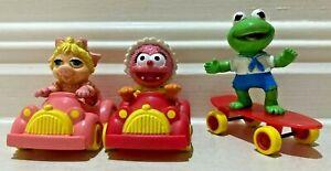 McDonalds 1986 Muppet Babies toys x 3 Miss Piggy Kermit Animal FREE POST!