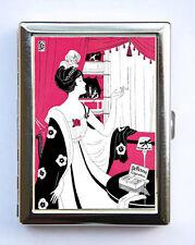 Art Nouveau Lady Smoking Cigarette Case id case Wallet Business Card Holder