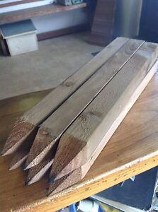 """Pack of 6, square wooden garden edging stakes 16"""" long treated pointed 4 way"""