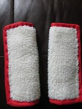 Lightly padded, Faux Sheep Fleece, Car Seat Belt Cover Pads. Red Trim.
