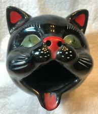Vintage Japan Shafford Black Cat Head Ashtray Redware