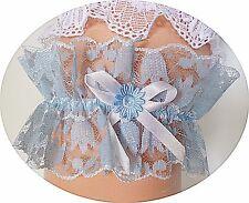 Strumpfband Braut Hochzeit blau mit weiß hellblau Spitze Blume Taubenblau NEU