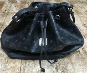 MCM HANDBAG Bucket Bag Womens DRAWSTRING Black Genuine Leather Large Draw String